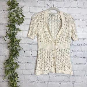 Ann Taylor Loft Crochet Cream V Neck Cardigan S